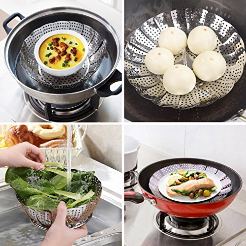 """Flexzion Stainless Steel Vegetable Steamer Basket - Expandable Round Folding Collapsible Tray Kitchen Tool Fits Instant Pot Electric Pressure Cooker for Cooking Foods Pasta Seafood 5.5"""" Adjust to 9"""""""