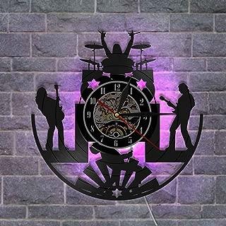 ビンテージビニールレコード壁掛け時計、サイレントウォールランプ時計 リモコン付き 音楽ファンのための最高の贈り物,C