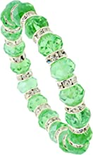 Sabrina Silver 7 in. Emerald Color Faceted Glass Crystal Bracelet on Elastic Nylon Strand, 3/8 in. (10mm) Wide