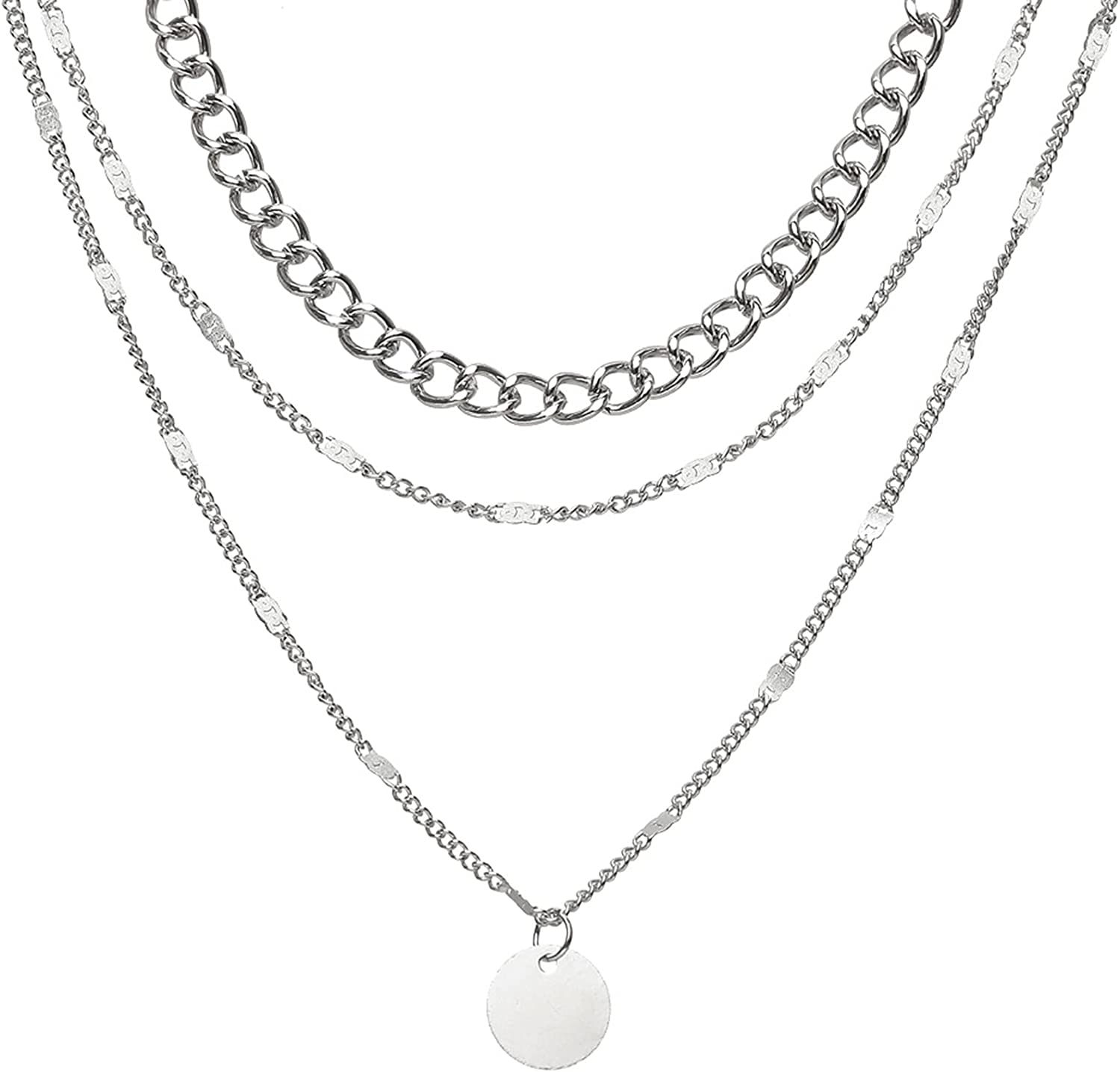 Underleaf Minimalist Disc Chokers Necklace Layered Circle Necklace Y Pendant Necklace for Women