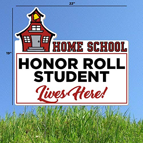 Home School Honor Roll Student Lives Here Lawn Sign - Stay Home Fun Quarantine Sign - Funny Lawn Sign