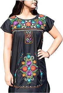 فساتين مكسيكية للنساء فستان مطرز قصير تقليدي حفلة عيد ميلاد مكسيكية أسود