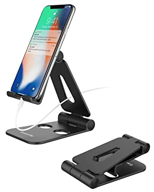 """Cell Phone Stand for Desk, Fully Foldable Adjustable Desktop Phone Holder Cradle Dock Compatible with Phone 11 Pro Xs Xs Max Xr X 8, iPad Mini, Nintendoo Switch, Tablets (7-10""""), All Phones"""