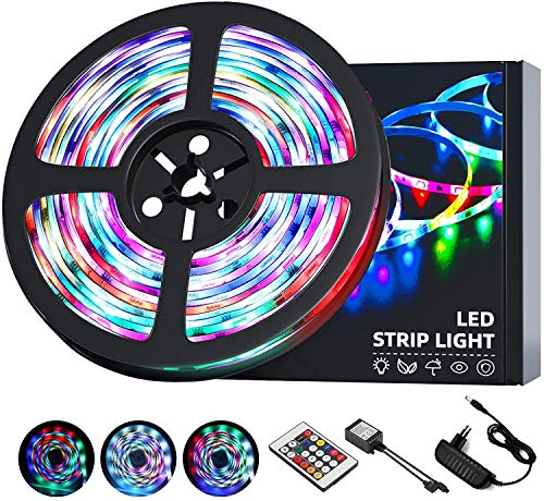 OUSFOT 5M LED Colores, Tira LED RGB Luces LED con Control Remoto IP65 8 Colores 18 Combinaciones Multicolores Manguera LED para Navidad Fiesta Bar Pasillo Jardín Habitación