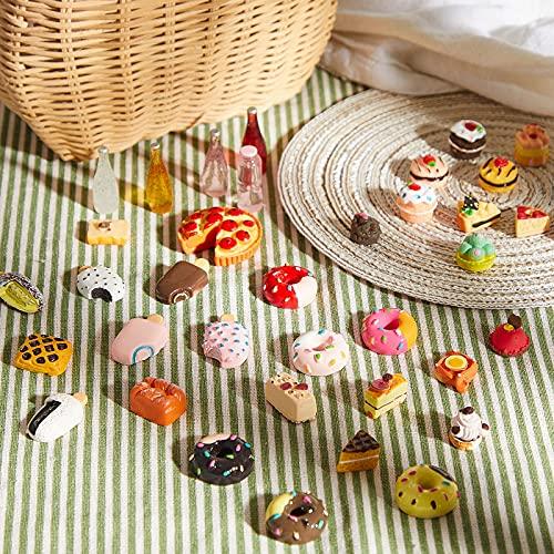 50 Stücke Miniatur Lebensmittel Mini Essen Getränk 1:12 Maßstab Hause Küche Essen Miniatur Zubehör Lebensmittel und Geschirr Set (Lebendig Serie)
