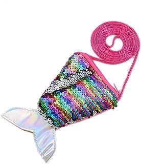 Starte Small Mini Coin Purse Messenger Bag Crossbody Satchel for Kids Girls,Mermaid Sequin Bling Bag for Girls Backpack,Colors