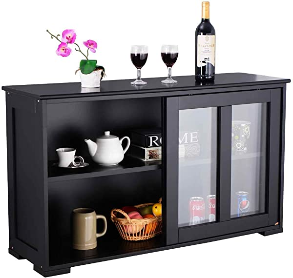 WATERJOY Kitchen Storage Sideboard Stackable Buffet Storage Cabinet With Sliding Door Tempered Glass Panels For Home Kitchen Antique Black