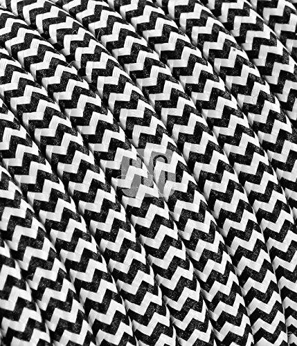 Cavo elettrico tondo rivestito in tessuto colorato per lampadari, lampade, abat jour. Il cavo elettrico diventa design! Scegli fra 30 colori. 10 Metri 2x0,75. Made in Italy! Bianco Nero