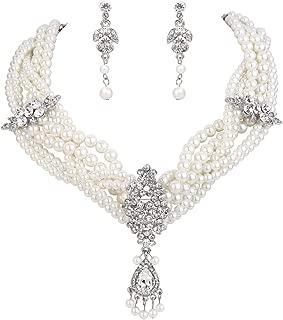 Women's Bohemian Boho Crystal Simulated Pearl Multi Twist Strand Art Deco Statement Necklace Dangle Earrings Set Clear Silver-Tone