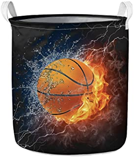 WELLFLYHOM Kids Teens Basketball Themed Laundry Baskets for Baby Boys Room Bathroom Foldable Large Dirty Hamper for Clothe...