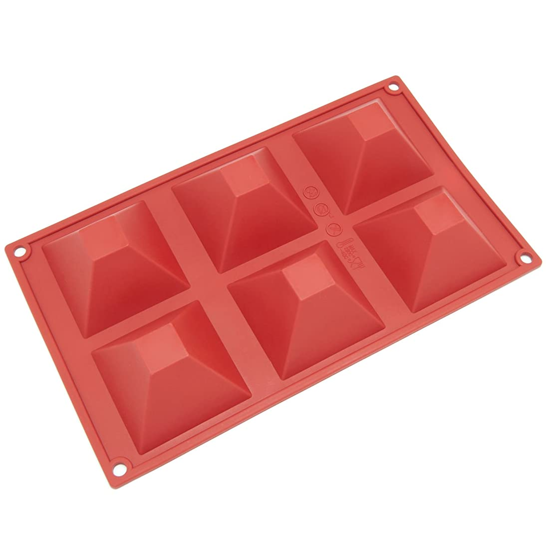 Freshware SL-101RD 6-Cavity Pyramid Shape Silicone Mold for Soap, Cake, Bread, Cupcake, Cheesecake, Cornbread, Muffin, Brownie, and More
