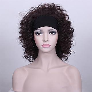 女性のためのヘアピース合成の毛ダークショートカーリーナチュラルを見るセレブウィッグ