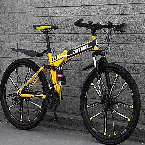 Las bicicletas de montaña bicicleta plegable de 26 pulgadas de 24 velocidades Suspensión de doble freno de disco completo antideslizante de aluminio ligero bastidor de suspensión Tenedor Amarillo