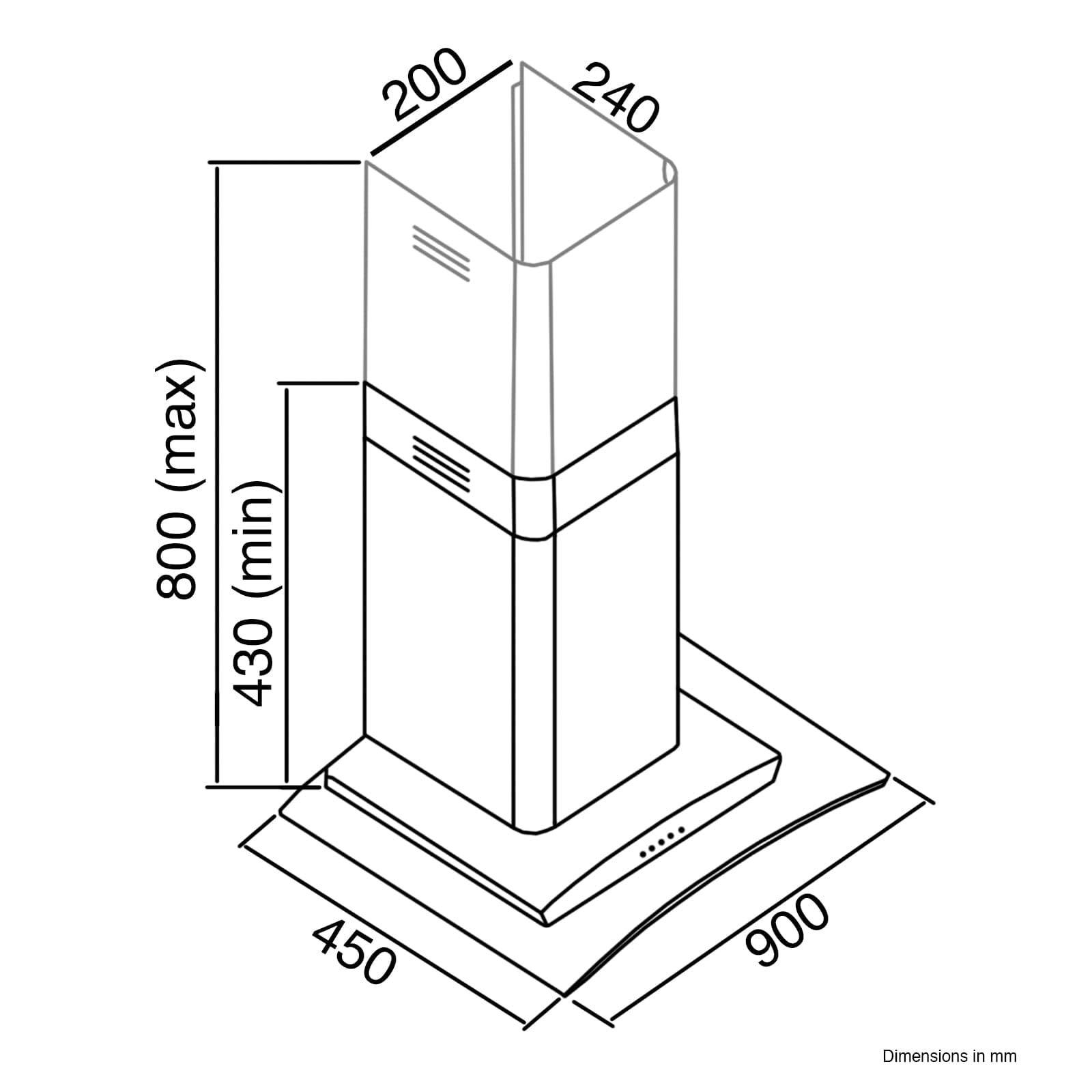 Sia 90 cm 3 Color LED borde iluminado cristal curvado blanco campana + filtro de carbón: Amazon.es: Grandes electrodomésticos