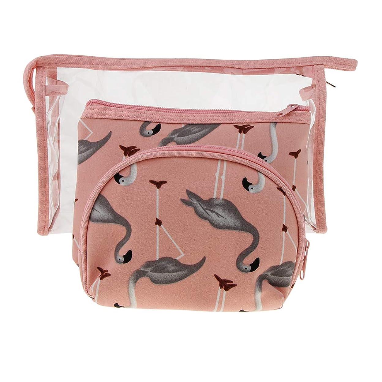 笑はっきりしないホットPerfeclan 3個入 メイクアップバッグ 化粧ポーチ イレタリーバッグ 多機能 洗面用具 PVC 透明 防水 全3色 - ピンク