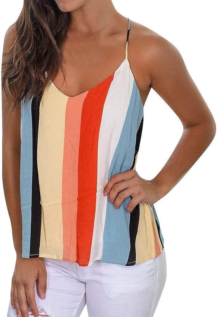 Forthery-Women Spaghetti Strap Lace Cami Fashion Multicolour Striped Printed Sleeveless Blouse V Neck Tank Shirt Vest