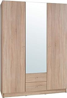 Movian - Armoire 3portes avec miroir Morava, 150 x 212 x 59cm, Chêne Sonoma Couleur