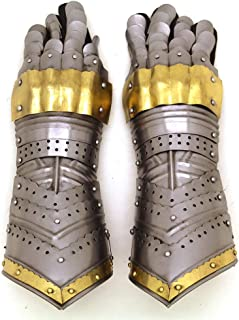Brand Metal Gothic Knight Style Gauntlets Fully Functional Armor Gloves (Gold)