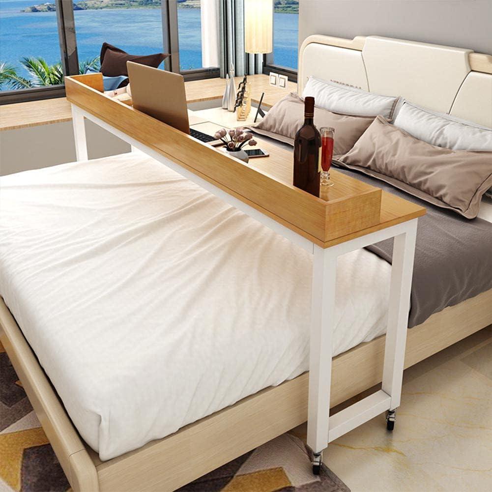 Mesa de madera ordenador en la cama, una mesa transversal cama, mesita movible al lado de la cama, una mesa de la pared, 120/140/150/170/200/220/240 cm, Mesa de comedor, mesa de juego,Amarillo,240CM