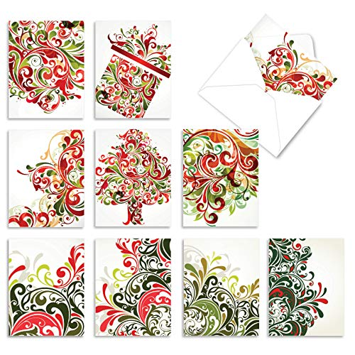 The Best Card Company - 10 Blank Christmas Note Cards with Envelopes (4 x 5.12 Inch) - Fun Assorted Holiday Notecard Set - Seasonal Swirls M6030