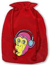 Monkey Wearing Headphones Christmas Gift Bags,Red Velvet Santa Sack Drawstring Bags for Xmas Presents