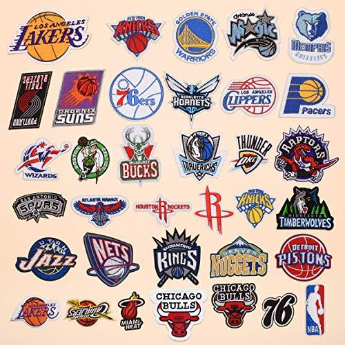 Hierro en parches Termoadhesivos Parche de Bordado bordado cosido para ropa, chaquetas, mochilas, jeans 35 pcs NBA team logo