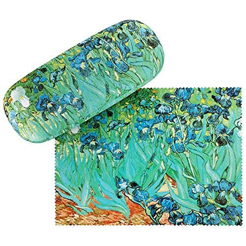 VON LILIENFELD Brillenetui Vincent van Gogh Iris Blumen Box Hardcase Leicht Geschenk Stabil Set mit Putztuch Kunst Damen Herren Floral