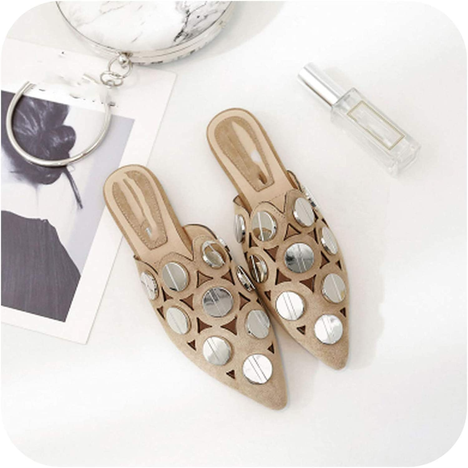 FAT BABY Woman Mules Half Slippler shoes Pointed Toe 2019 Spring Summer New Female Fashion Casual shoes Bling Bling Flats shoes