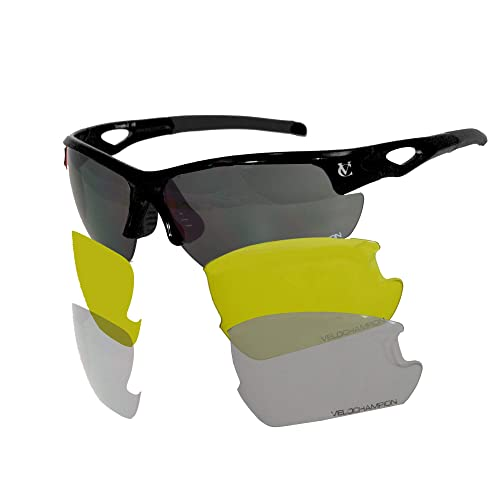VeloChampion Tornado Cycling Running Driving Sports Sunglasses - with 3 Sets of Lenses and Soft Pouch