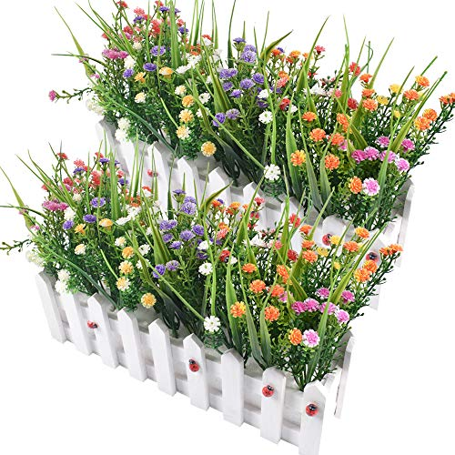 Flores Artificiales Baby's Breath Gypsophila en Picket Fence Pot Pack para la decoración del Banquete de Boda DIY Home, Juego de 2