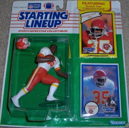 Starting Lineup Sports Super Star Collectible Figure - 1990 Edition Card Plus Rookie Year Card- KC Chiefs Christian Okoye