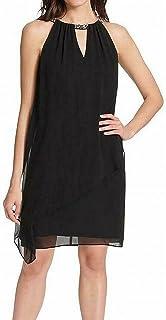 JESSICA HOWARD Womens Black Embellished Sleeveless Keyhole Knee Length Shift Wear To Work Dress Petites US Size: 6P