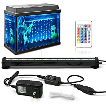 Fish Tank Light KAPATA Aquarium Fish Tank LED Lights with 24key Controller 16 Colors and 4 Changing Modes Air Bubble Lights 30CM/12inch