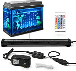 KAPATA Aquarium Fish Tank LED Lights with 24key Controller 16 Colors and 4 Color Changing Modes Air Bubble Lights
