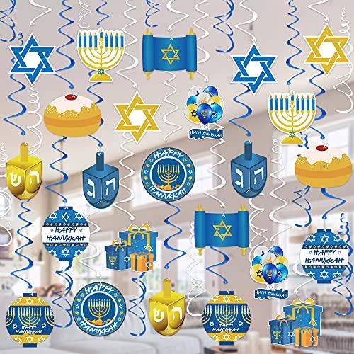 Tifeson Hanukkah Decorations Hanging Swirls - 36 PCS Menorah Star of David Dreidel Ceiling Swirls for Chanukah Party, Happy Hanukkah Holiday Party Decor