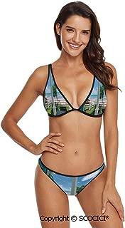 SCOCICI Comfortable and Quick Dry Bikini Style Circular Forms Retro Spots Artsy