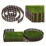 Valla miniatura para decoración de jardín, decoración de hadas, maceta de jardín en miniatura, maceta de madera blanca (100 x 3 cm) (3 m, café)