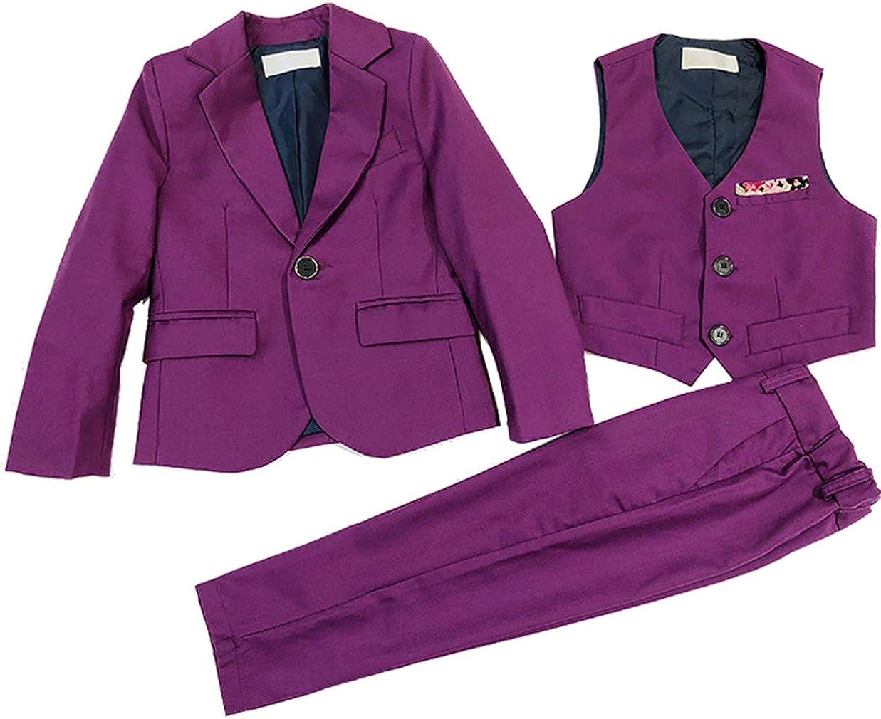 Boys Purple Blue Gentleman Wedding Suits Blazer Jacket Dress Vest Pants