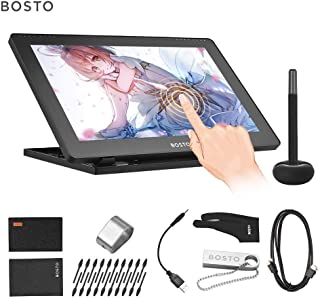 Aibecy BOSTO 16HDK Portable 15.6 Inch H-IPS LCD Graphics Drawing Tablet Display 8192 Pressure Level Active Technology USB-Powered Low Consumption Drawing Tablet with Interactive Stylus Pen