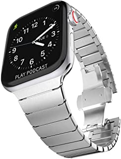 Surace Stainless Steel Link Bracelet Replacement for Apple Watch Band 44mm Series 4 Series 5 with Butterfly Folding Clasp Compatible for Apple Watch 42mm (Silver)