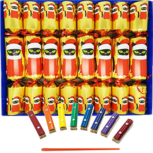 Set of 12 Flat Pack Make Your Own Craquelins Cat F1 Crackers Ltd Christmas Joy in Green and Red