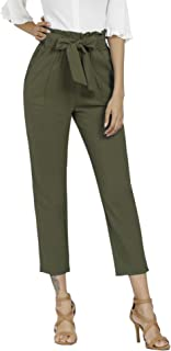 Freeprance Women's Pants Casual Trouser Paper Bag Pants...