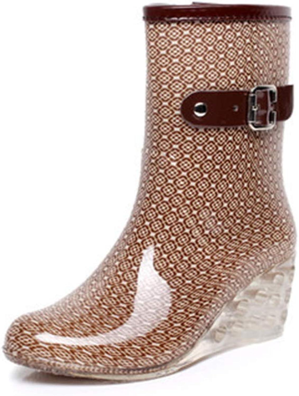 Fancyww Women's Rain Boots Buckle Side Zipper Wedge High Heel Waterproof shoes Snow Bootie