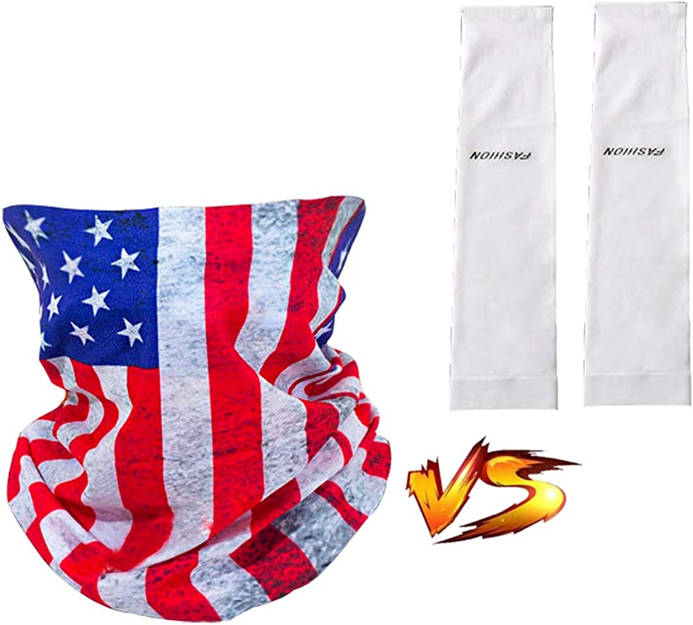 Face Cover Scarf Bandanas Neck Gaiter and Arm Sleeves , Dust & UV Sun-Protection for Outdoors Adult