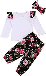 ggudd Niña Bebé Mangas Voladoras Tapa+Floral Pantalones+Venda 3 Piezas Conjuntos de Trajes