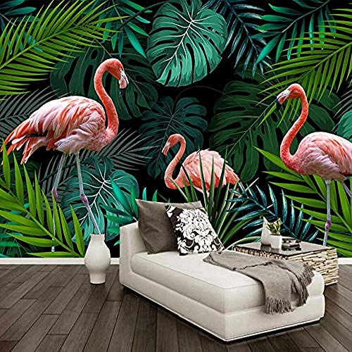 XHXI Hand Painted Abstract Red Bird Green Banana Leaves Large Murals Custom Photo Wallpaper Decor Wall Painting 3D Wallpaper Living Room The Wall for Bedroom Mural border-350cm×256cm