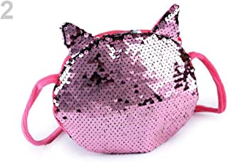 1pc 2 Powder Silver Kids Handbag, Cat with Reversible Sequins 16x17 cm, Childrens Girls Bags & Backpacks, Fashion Accessories