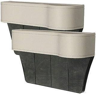 LIEIKIC Autositz Aufbewahrungsbox Leder, Multifunktionale Aufbewahrungs Schlitz Box Auto Organizer Gap Autositz Seitentaschen (Beige)