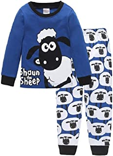 Hooyi Sheep Toddler Boy Clothes Suit Cotton Long Sleeve Set T-Shirt Trouser Cartoon