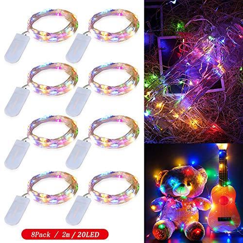 8 Piezas Cadena de Luces con pilas CR2032, Zorara 2M/6.6 Ft 20 LEDs Guirnaldas Luces con Pilas, Luces Decorativas...